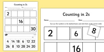 Counting in 2s Cut and Stick Activity Sheet - counting, count, cut and stick, activity, 2s, worksheet
