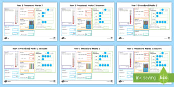 Procedural Year 3 Mat 2 Maths Activity Mats - Maths Acitvity Mats, matiau mathemateg, gweithgareddau mathemateg, Deunyddiau sampl rhifedd, Profion