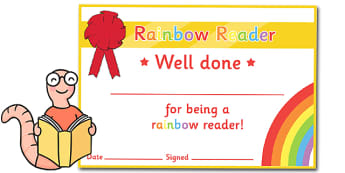 Editable Rainbow Reader Book Certificates - Editable Book Colours Reading Certificates, colour, rainbow, reading, read, books, editable, book, certificates, award, well done, reward, medal, rewards, school, general, certificate, achievement