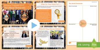 The Liberal Democrats PowerPoint Pack - Tim Farron, manifesto, history, politics, vote, prime minister, member of parliament