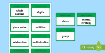 CfE Second Level Numeracy and Mathematics Number and Number Processes Keyword Flashcards-Scottish - Wall Display, keywords, MNU 2-02a, MNU 2-03a, MNU 2-03b, MTH 2-03c, MNU 2-04a, language of maths, vo