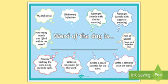 Word of the Day Display Poster - vocabulary, definitions, spelling, starter task, antonyms, synonyms,Scottish