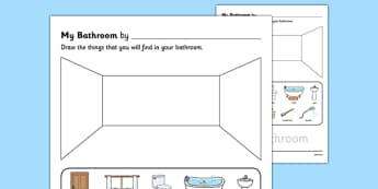 My Bathroom Aistear Follow On Worksheet - my bathroom, aistear, follow on, worksheet