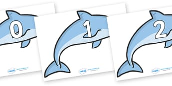 Numbers 0-50 on Dolphins - 0-50, foundation stage numeracy, Number recognition, Number flashcards, counting, number frieze, Display numbers, number posters