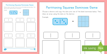 Partitioning Squares Dominoes Game - Partitioning, squares, shapes, geometry, game, dominoes