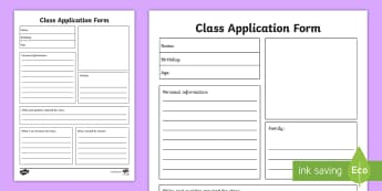 Class Application Form Activity Sheets - job, search, apply, application, form, editable, worksheet, new class, class application, class job,