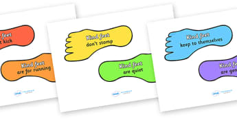 Kind Feet Display Posters - kind feet, education, home school, child development, children activities, free, kids, children behaviour, behavior children, behaviour management, feet