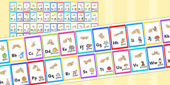 British Sign Language Alphabet Strips - alphabet, strips, sign