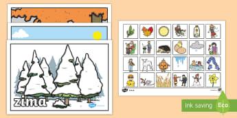 Zestaw kart do porzadkowania Pory roku - pory, roku, rok, pora, zima, lato, jesień, wiosna, karty, porządkowanie, sortowanie, karta, miesi