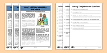 Lottery Win Newspaper Report Differentiated Reading Comprehension Activity