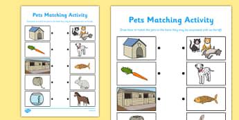 Pets Matching Activity - pets, matching, activity, match, matching activity