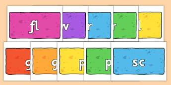Initial Letter Blends on Bricks (Multicolour) - Initial Letters, initial letter, letter blend, letter blends, consonant, consonants, digraph, trigraph, literacy, alphabet, letters, foundation stage literacy