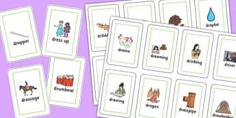Two Syllable DR Playing Cards - speech sounds, phonology, articulation, speech therapy, cluster reduction, clusters, blends