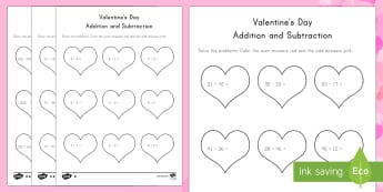 Valentine's Day Addition and Subtraction Differentiated Activity Sheets - Valentine's Day, Addition, Subtraction, Even, Odd
