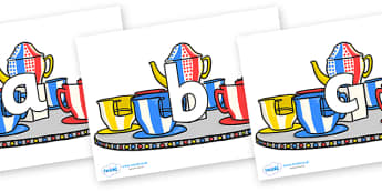 Phoneme Set on Fairground Teacups - Phoneme set, phonemes, phoneme, Letters and Sounds, DfES, display, Phase 1, Phase 2, Phase 3, Phase 5, Foundation, Literacy