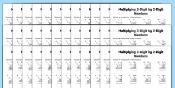 Multiplication 3-Digit x 2-Digit Missing Numbers Differentiated Activity Sheet Pack, worksheet