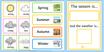 Weather and Season Calendar - season, weather, calendar, spring, summer, autumn, winter, rainy, sunny, cloudy, calendar