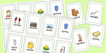 Two Syllable SQU Flash Cards - speech sounds, phonology, articulation, speech therapy, cluster reduction, complex clusters, three element clusters