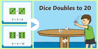 Dice Doubles to 20 PowerPoint - doubling, ks1, dice, doubles