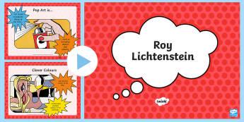 Roy Lichtenstein Information PowerPoint - artist, pop art, comic, painting,andy Warhol, dots, spotty, spots, newspaper,