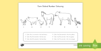 Farm Animals Coloring and Ordinal Number Activity Sheet - Early Childhood Animals, Animals, Pre-K Animals, K4 Animals, 4K Animals, Preschool Animals, Farm Ani