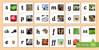 Phase 2 Phonemes with Photographs Flashcards - Phase 2 Square Large Display Cards (Pictures) - Phonemes, Phase 2, Phase two, Mnemonic cards, DfES L