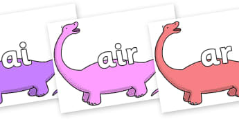 Phase 3 Phonemes on Apatosaurus to Support Teaching on Harry and the Bucketful of Dinosaurs - Phonemes, phoneme, Phase 3, Phase three, Foundation, Literacy, Letters and Sounds, DfES, display