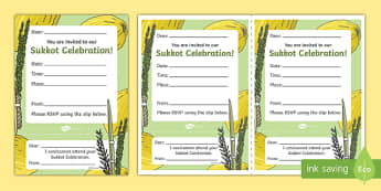 Sukkot Party  Invitation Activity Sheet