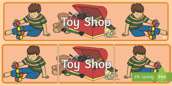 Toy Shop Banner - Toy shop Role Play, toy shop, toy shop resources, toys, till, money, customer, dolls, lego, ben 10, role play, display, poster