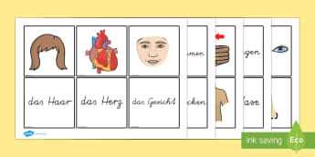 Parts of the Body Word and Picture Matching Cards German - german, parts, body, word, picture, matching, cards