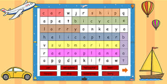 Transport Interactive Wordsearch - transport, wordsearch, ppt