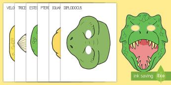 Máscaras de juego simbólico: Dinosaurios - Dinosaurios, pre-historia, dinos, tyranosaurio, estegosaurio, triceratops, proyectos, aprendizaje ba