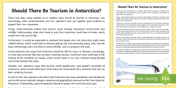 Should There Be Tourism in Antarctica? Discussion Writing Sample - LiteracyShould There Be Tourism in Antarctica? Discussion  Writing Sample  ,year 5,, writing sample,