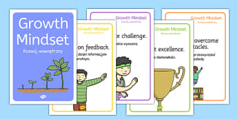 Growth Mindset Statement Posters Polish Translation - polish, PSHE, Facts, Posters, display, information