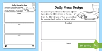 CfE Early Level Menu Design Activity Sheet - CfE Healthy Eating Week 12th June, healthy eating, menu design, worksheet, meal planning, balanced d