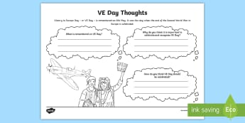 KS2 VE Day Discussion Activity Sheet - KS2 VE day (8th May), Victory in Europe Day, remembering VE Day, discuss VE day, KS2, year 3, year 4