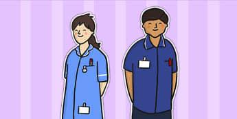 Nurse Stick Puppets - stick puppet, puppet, role play, nurse