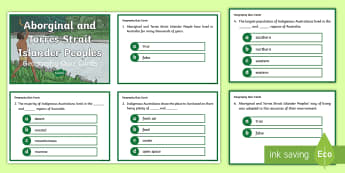 Year 4 AC Geography Aboriginal and Torres Strait Islander Peoples Quiz Cards - ACHASSK089, prior knowledge, formative assessment,Australia