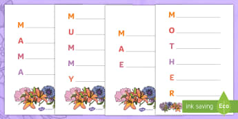 Mother's Day Acrostic Poem Template (Flowers) English/Portuguese - Mother's Day Acrostic Poem Sheets (Flowers) - acrostic poems, acrostic poem, mothers day acrostic p