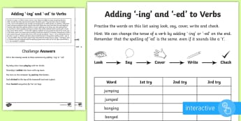 Year 1 Spelling Practice Sheet Adding '-ing' and '-ed' to Verbs Go Respond Activity Sheet  - ks1, English, year 1, practice, home learning, home work, homework, Worksheet, practise, SPaG, spell