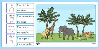 Wild Animal Preposition Scene - SEN, visual aid, position, animal, prepositions
