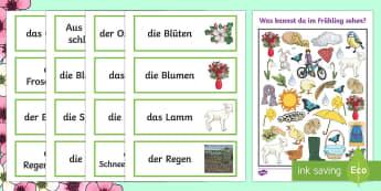 Spring Themed I Spy Activity Sheet German - Spring, German, I spy, Seasons