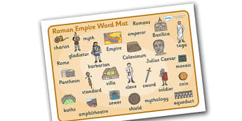 Roman Empire Word Mat - Romans, Rome, Roman Empire, colosseum, word mat, writing aid, mat, pantheon, Julius Caesar, emperor, gladiator, amphitheatre