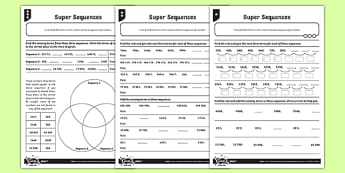 Super Sequences Activity Sheet, worksheet