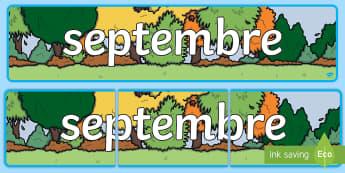Banderole d'affichage : Septembre - Les mois de l'année - septembre, September, banderole, banner, display, panneau d'affichage, mois, months, year, année,