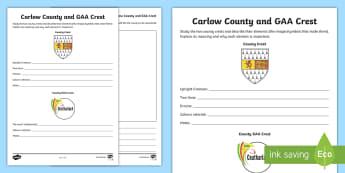 Carlow County and GAA Crest Activity Sheet - GAA Football All-Ireland Senior Championship, GAA Hurling All-Ireland Senior Championship, GAA crest