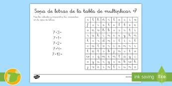Ficha de actividad: Sopa de letras - La tabla de multiplicar x7 - multiplicar, multiplicación, tabla de multiplicar, múltiplos, sopa de letras, ficha, mates, matem