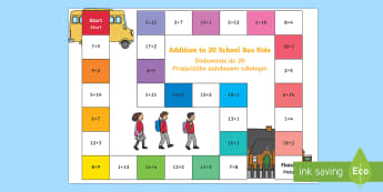 Addition Bus Board Game English/Polish - add, adding, games, maths, numeracy, +, adition, numracy, additon, matsh, EAL, Polish-translation