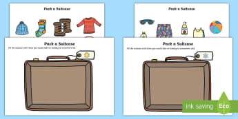 Pack a Suitcase Compare Hot and Cold Cut and Stick Activity - Pack a Suitcase Cut and Stick Activity - suitcase, cut and stick, compare hot and cold, hot and cold