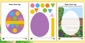 Easter Egg 2D Shape Activity Sheets - Shapes, easter egg, easter, lent, 2D shapes, worksheets